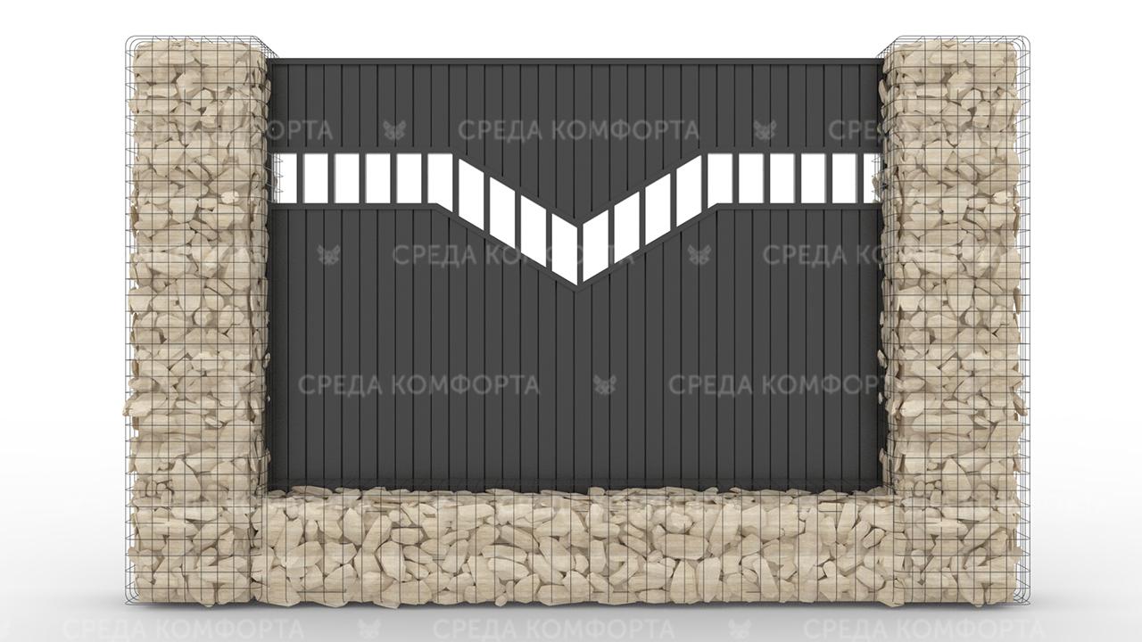Забор из профлиста 2500х2000 мм ZBR0039 (столб для забора продается отдельно)