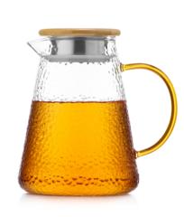 Стеклянный заварочный чайник 1,2 литра Атлант с бамбуковой крышкой-фильтром и с желтой ручкой