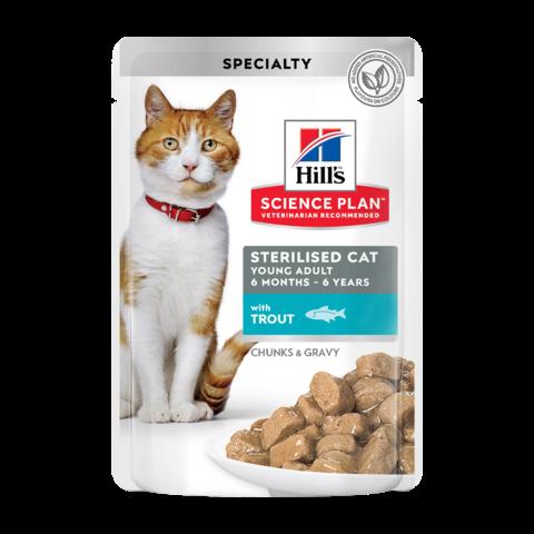 Hill's Science Plan Sterilised Cat Консервы для молодых стерилизованных кошек и кастрированных котов с форелью в соусе (пауч)