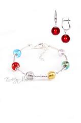 Комплект Carnavale Argento (красные серьги на серебре, браслет)