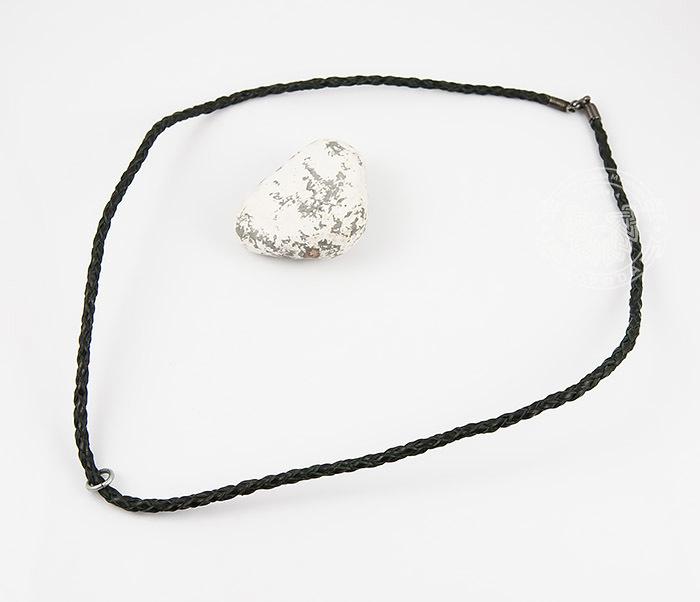 PL274-1 Плетеный шнур ручной работы из натуральной кожи черного цвета фото 02