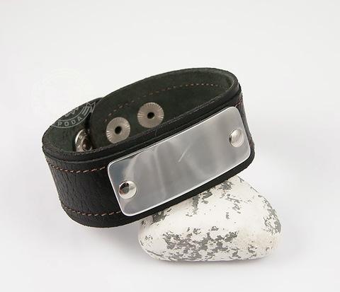 BL452 Кожаный браслет с пластиной под гравировку