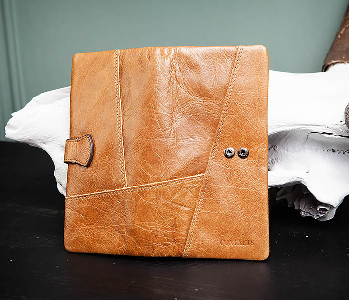 WL252-2 Мужской клатч из натуральной кожи со съемным отделением фото 05