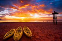 Алмазная Мозаика 30x40 Лодки на пляже