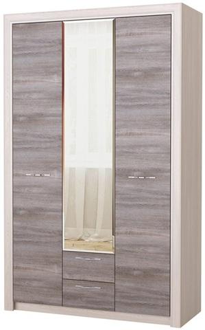 Шкаф Октава с зеркалом 3С2Я серый