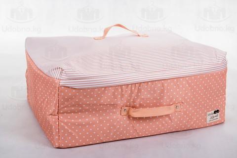 Мягкий средний широкий кофр для одежды, L, 56*42*24 см (розовый в горошек)