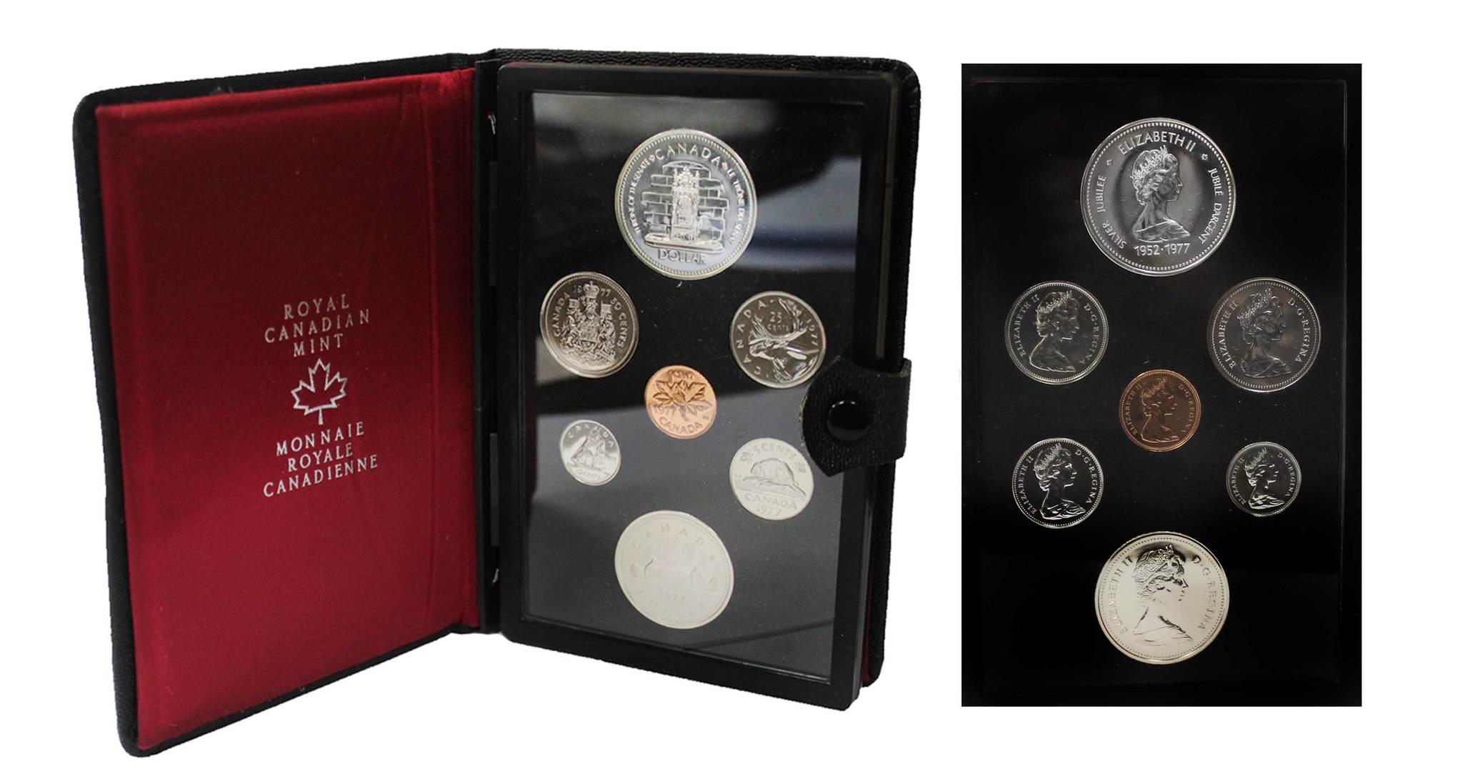 Набор монет Канады 1977 год, в кожаном футляре (Серебро, никель, бронза). PROOF