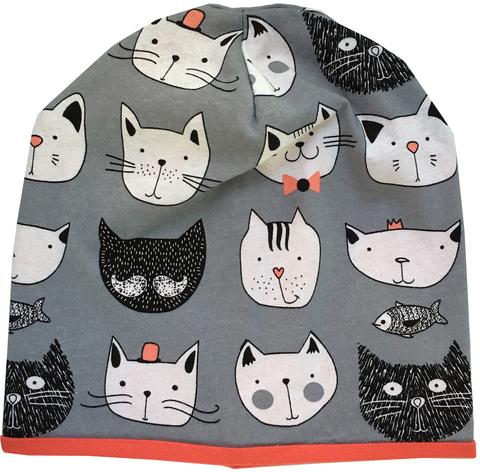 Хлопковая шапочка бини с котиками