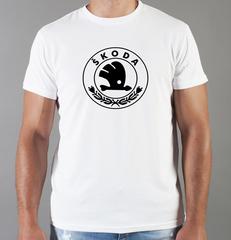 Футболка с принтом Шкода (Skoda) белая 005