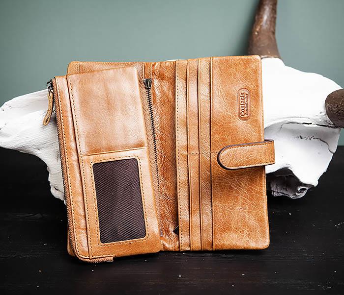WL252-2 Мужской клатч из натуральной кожи со съемным отделением фото 07