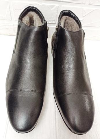 Черные зимние ботинки мужские кожаные с мехом Etor 5279 45 -й размер
