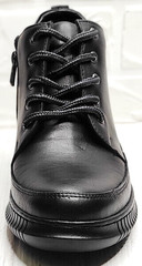 Черные кеды женские демисезонные ботинки на шнуровке Evromoda 535-2010 S.A. Black.