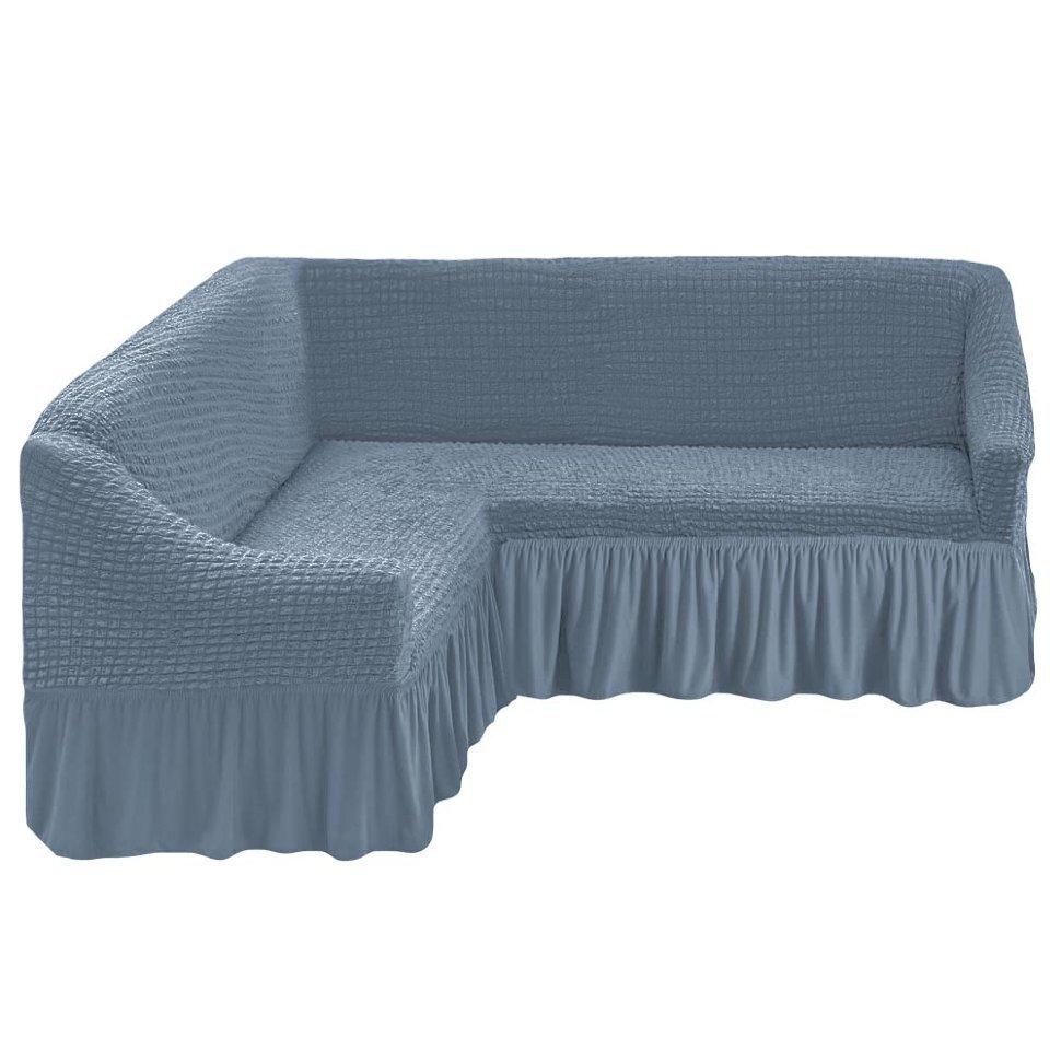 Чехол на угловой диван, светло-серый