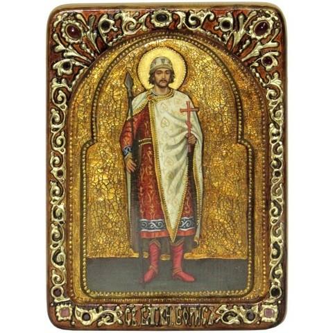 Инкрустированная живописная икона Святой благоверный князь Борис 29х21см на натуральном дереве в подарочной коробке
