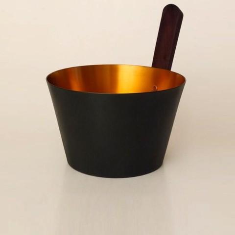 Алюминиевая бадья Blumenberg 5 л Бадья с прямой ручкой (черный/золотой)