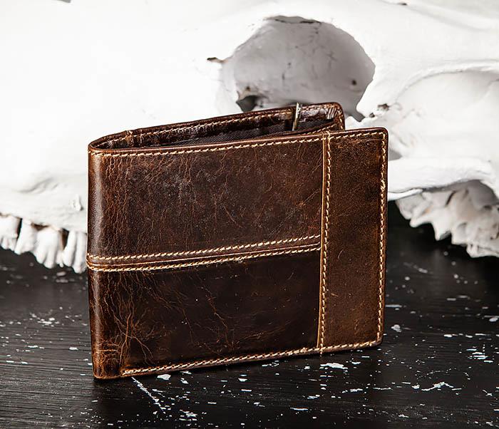 WL329-2 Вместительное мужское кожаное портмоне с монетницей фото 02