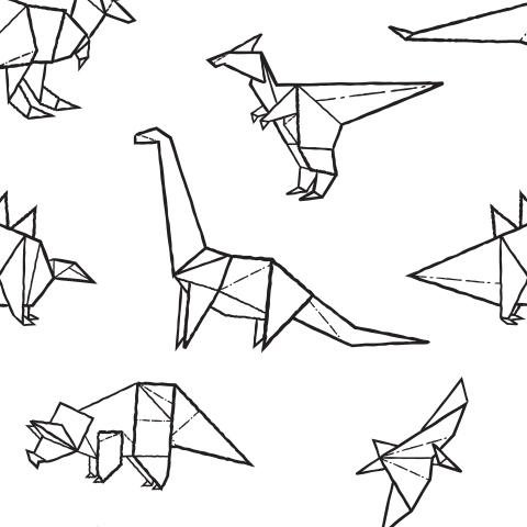 Дино оригами на белом
