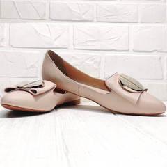 Женские туфли балетки с острым носком Wollen G192-878-322 Light Pink.