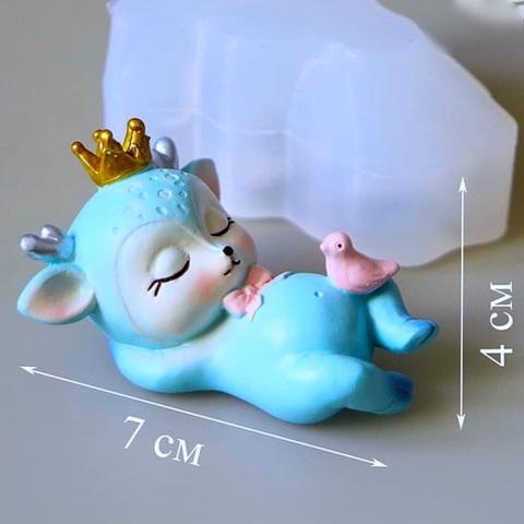 3D ОЛЕНЕНОК С КОРОНОЙ силиконовый молд (70х40мм)