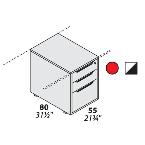 Тумба опорная для столешницы 3 ящика (800 мм) LOGIC