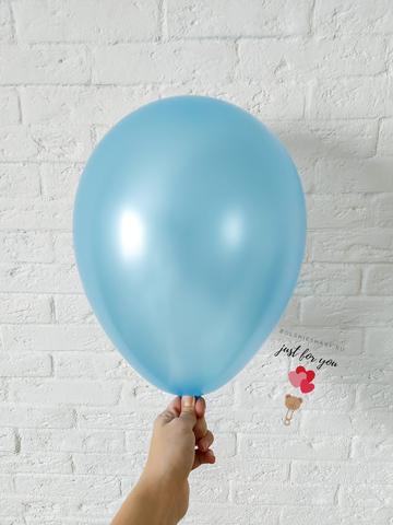 Воздушный шар голубой металлик