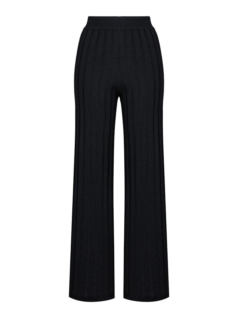 Женские брюки черного цвета из шерсти и шелка - фото 1