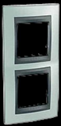 Рамка на 2 поста, вертикальная. Цвет Флюорит-графит. Schneider electric Unica Top. MGU66.004V.294