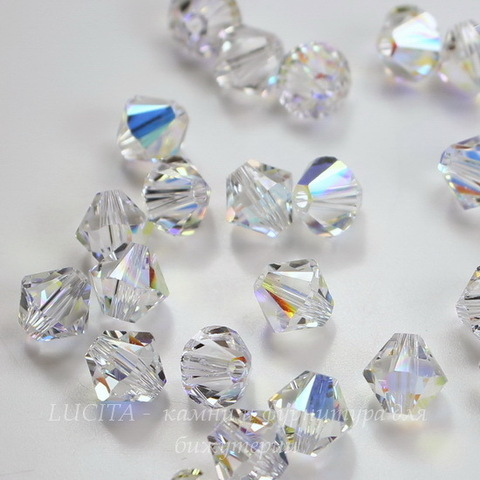 5328 Бусина - биконус Сваровски Crystal AB 8 мм (6 мм)