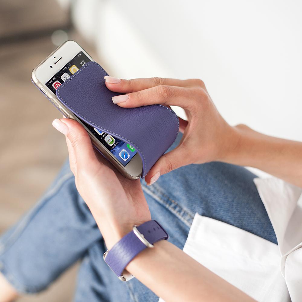 Чехол для iPhone 7 из натуральной кожи теленка, цвета сирени