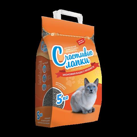 Счастливые лапки Наполнитель для туалета кошек комкующийся Эконом