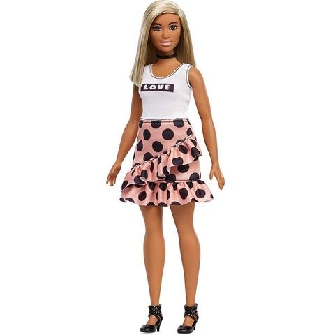 Барби Fashionistas 111 в Майке Love и Розовой Юбке