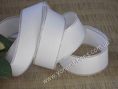 Лента репсовая Белая с люрексовой серебряной каймой  25 мм