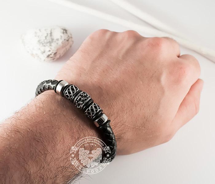 BM370 Мужской браслет из стали и кожаного шнура на магнитной застежке (20 см) фото 06