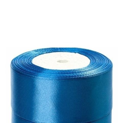 Лента атласная (размер:40мм х 25 ярдов) Цвет:голубой