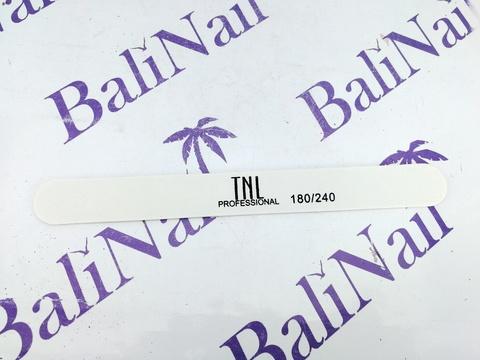 Пилка для ногтей тонкая 180/240 улучшенное качество (белая) в индивидуальной упаковке (деревянная основа)