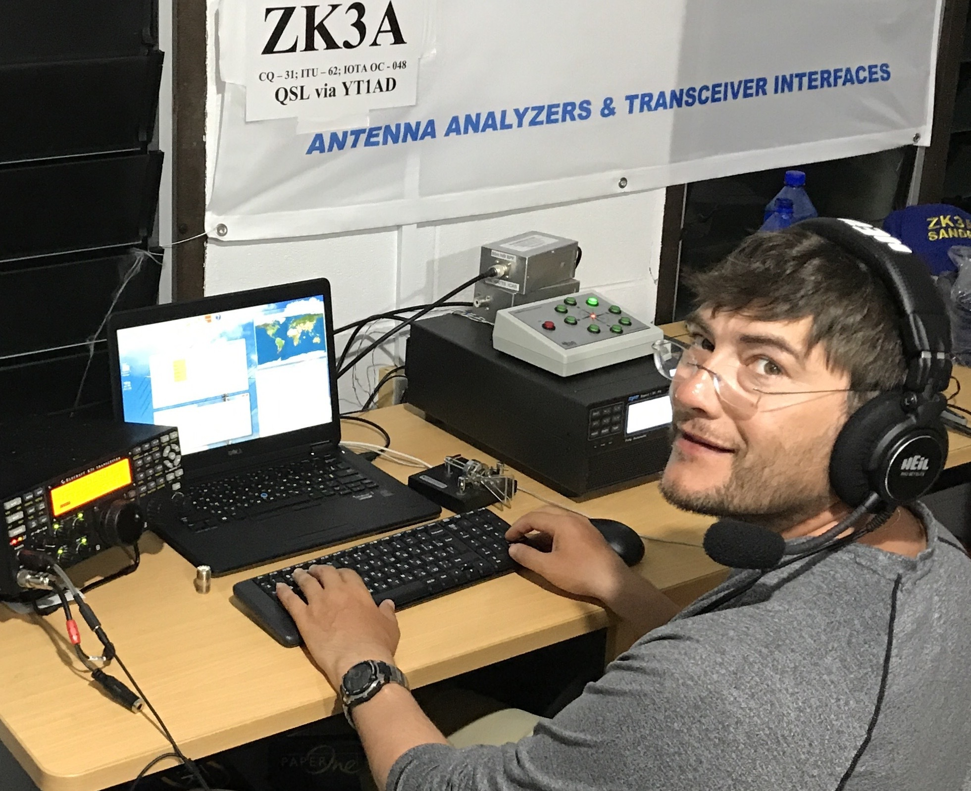 Adrian, YO8KSC at ZK3A with LowBandSystems 8 direction 4 square system
