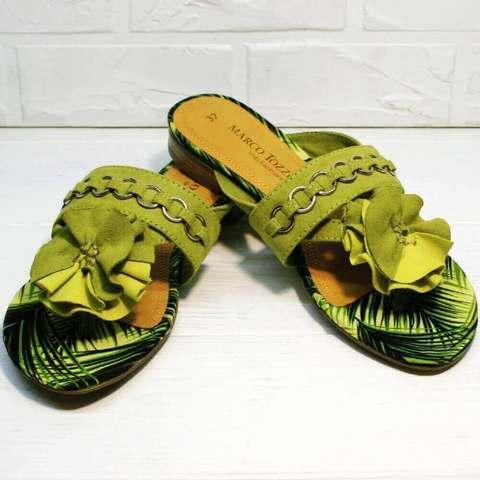 Женские шлепки босоножки на низком ходу.  Стильные сандалии вьетнамки с цветами MarcoTozzi –G.