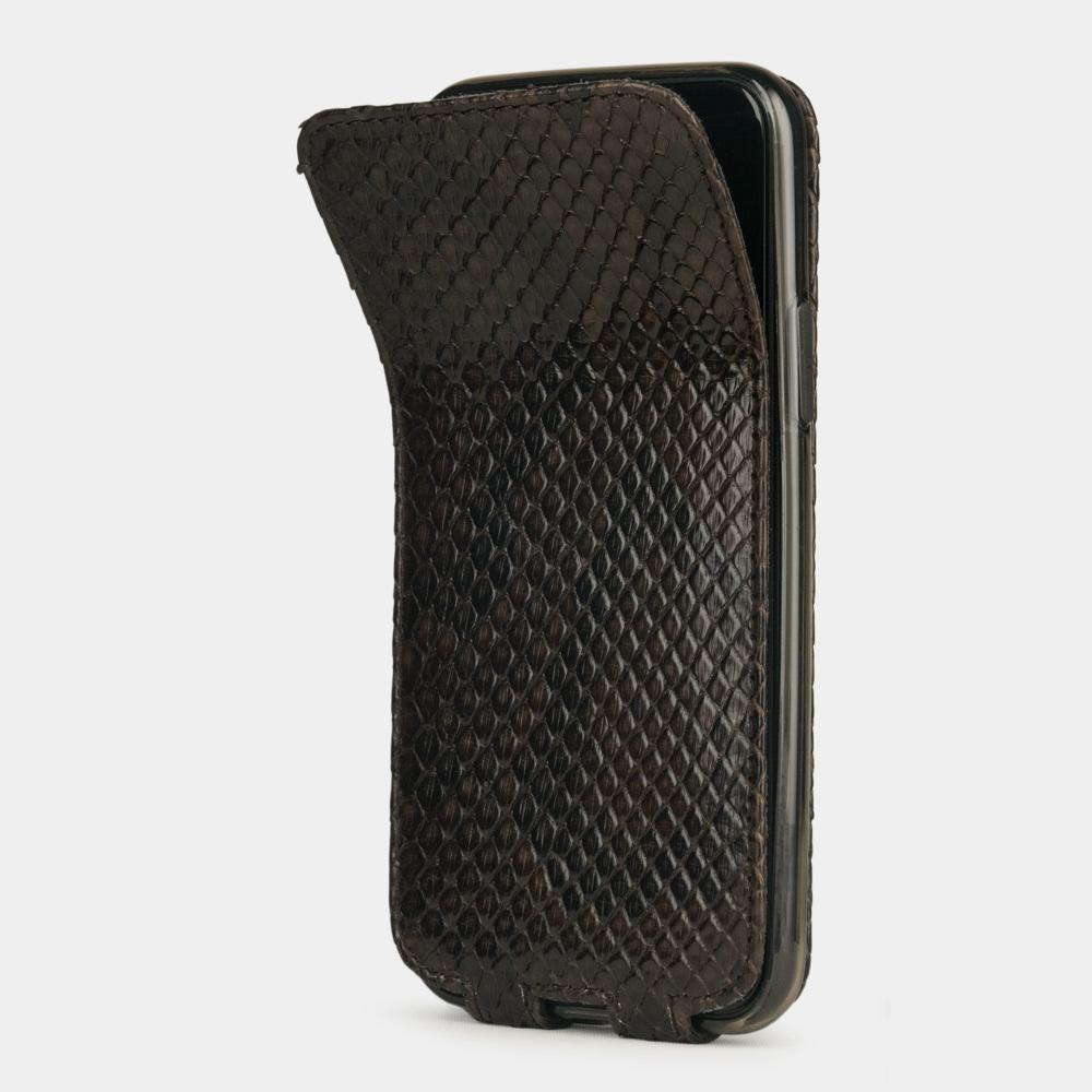 Чехол для iPhone 11 Pro Max из натуральной кожи питона, темно-коричневого цвета