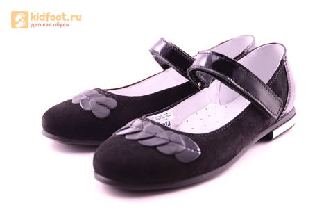 Туфли для девочек из натуральной кожи и велюра на липучке Лель (LEL), цвет черный. Изображение 6 из 17.
