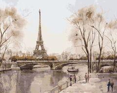 Картина раскраска по номерам 40x50 Вид на эйфелеву башню в серых тонах