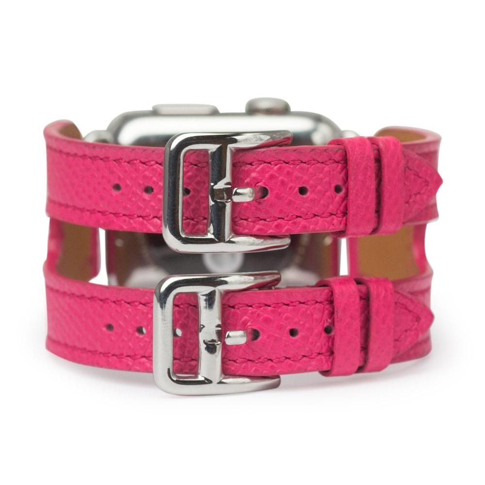 Ремешок для Apple Watch 38мм ST Double Buckle из натуральной кожи теленка, темно-розового цвета