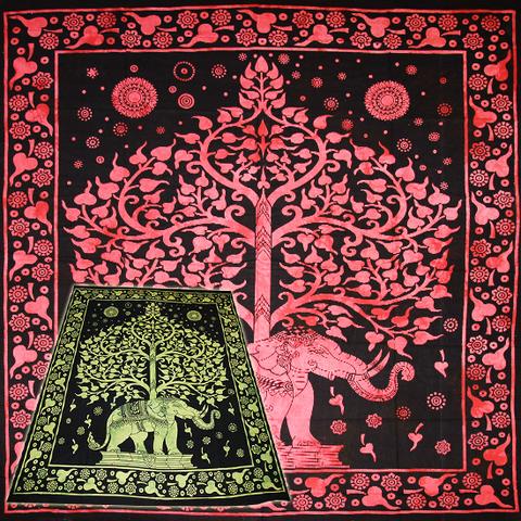 Покрывало цветное Дерево жизни на слоне хлопок  210х240 см (Индия)