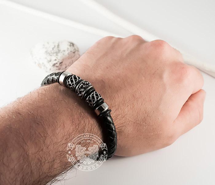 BM370 Мужской браслет из стали и кожаного шнура на магнитной застежке (20 см) фото 07