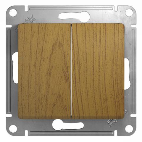 Выключатель двухклавишный, 10АХ. Цвет Дуб. Schneider Electric Glossa. GSL000551