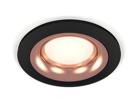 Комплект встраиваемого светильника XC7622006 SBK/PPG черный песок/золото розовое полированное MR16 GU5.3 (C7622, N7015)