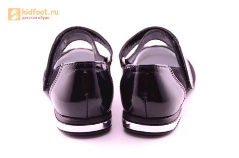 Туфли для девочек из натуральной кожи и велюра на липучке Лель (LEL), цвет черный. Изображение 8 из 17.