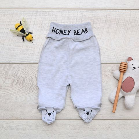 Ползунки с широкой резинкой Мишки любят мед Minikin, интерлок, серый/меланж