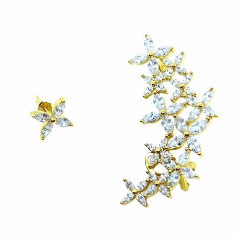 51981- Ассиметричный кафф из серебра  в лимонной позолоте с цирконами огранки маркиз