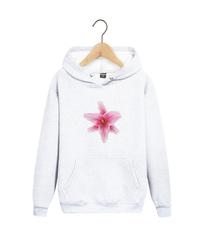 Толстовка белая с капюшоном (худи, кенгуру) и принтом Цветы (Лилии) 001