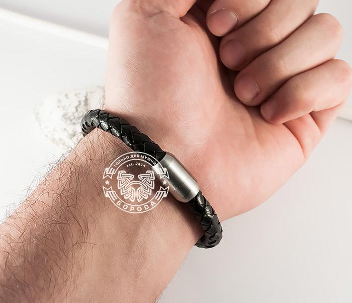 BM370 Мужской браслет из стали и кожаного шнура на магнитной застежке (20 см) фото 08